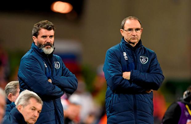 Ireland assistant manager Roy Keane, left, watches on alongside manager Martin O'Neill