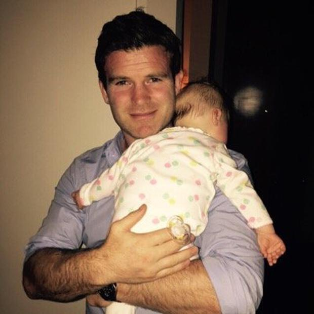 Gordon D'Arcy with baby daughter Soleil