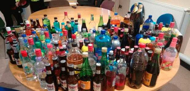 Some of the alcohol seized from underage drinkers over the Easter holidays