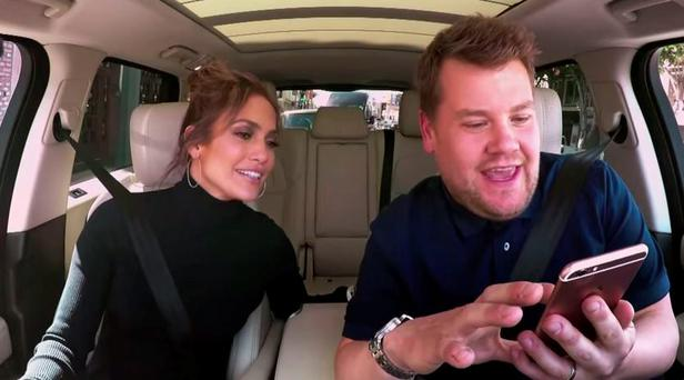 James Corden texts Leonardo DiCaprio from Jennifer Lopez's phone on Carpool Karaoke