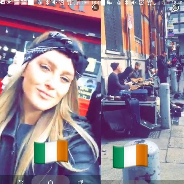 Perrie Edwards visits Temple Bar to catch boyband Keywest busking. Photo: Facebook