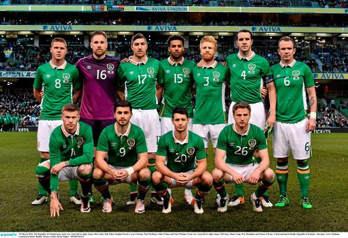 Ireland team line up before the Slovakia friendly