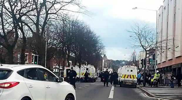 Police at the scene of the disturbance on the Ormeau Road