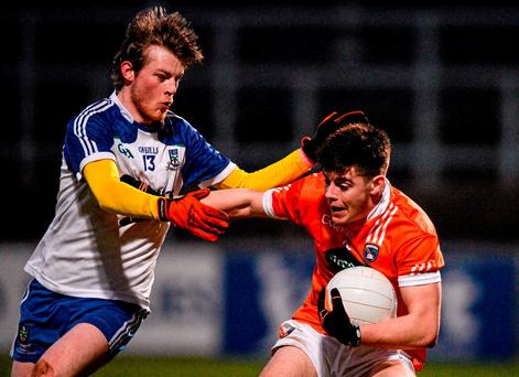 Jamie Cosgrove, Armagh, in action against Michael O'Dowd, Monaghan. EirGrid Ulster GAA Football U21 Championship, Semi-Final, Monaghan v Armagh, Páirc Esler, Newry, Co. Down. Picture credit: David Fitzgerald / SPORTSFILE