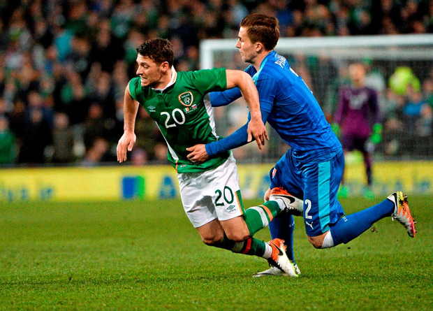 Wes Hoolahan in action for Ireland against Peter Pekarík of Slovakia at the Aviva Stadium on Tuesday night. Photo: David Maher/Sportsfile