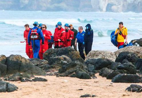 Coastguard teams tasked to assist the Ambulance service with an injured walker who had sustained injuries after falling from a cliff top at the White Rocks Beach Portrush. Photo: Matt Steele/McCauley Multimedia