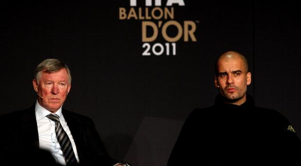 ZURICH, SWITZERLAND - JANUARY 09: Manchester United Coach, Sir Alex Ferguson (L) with Barcelona coach, Pep Guardiola during the Press Conference with nominees for FIFA Ballon d'Or and World Coach of the Year for Men's Football on January 9, 2012 in Zurich, Switzerland. (Photo by Scott Heavey/Getty Images)