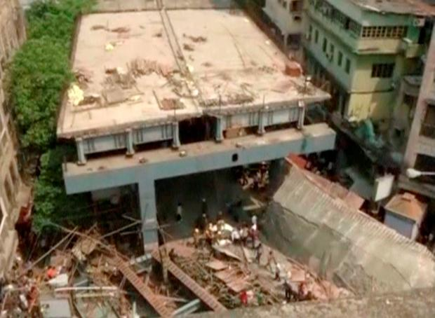 A view shows the flyover which collapsed in Kolkata, India, in this still image taken from video March 31, 2016. REUTERS/ANI via Reuters TV