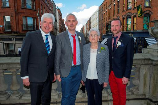Alex White, Seamus White, Agatha White and John O'Sullivan at Seamus and John's marriage in City Hall, Dublin