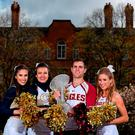 Georgia Tech cheerleaders Jackie Carroll, left, and Sarah Kate Somers with Boston College cheerleaders Matthew Keemon and Elizabeth Pehota at the unveiling of Trinity College as the Welcome Village for this September's Aer Lingus College Football Classic in the Aviva Stadium. Photo: Brendan Moran/Sportsfile
