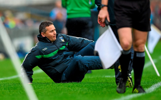 Limerick manager TJ Ryan slips on the Semple Stadium turf during last year's Championship defeat to Dublin. He'll be hoping for no slip ups against the Dubs tomorrow and will be boosted by the return for Shane Dowling, fresh from Na Piarsaigh's All-Ireland club success. Photo: Sportsfile