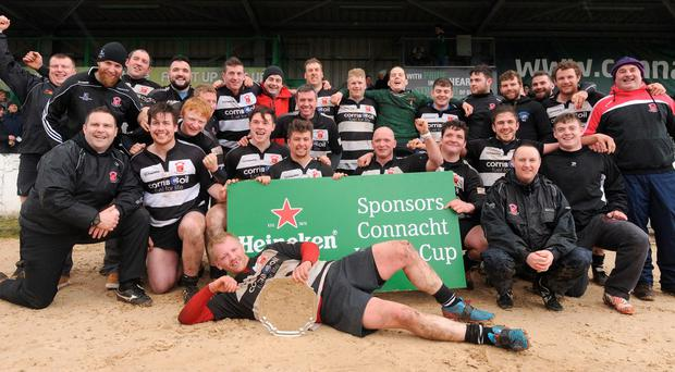 Ballinrobe RFC celebrating their Junior Plate win over Dunmore at the Sportsground (Pic Conor McKeown)