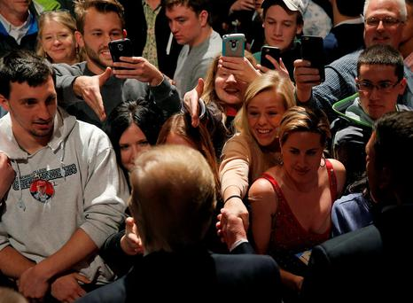 Republican presidential candidate Donald Trump greets supporters at a campaign rally in De Pere, Wisconsin. Photo: Jim Young/Reuters