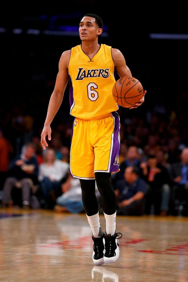 Jordan Clarkson #6 of the Los Angeles Lakers dribbles the ball during the second half of a game against the San Antonio Spurs at Staples Center