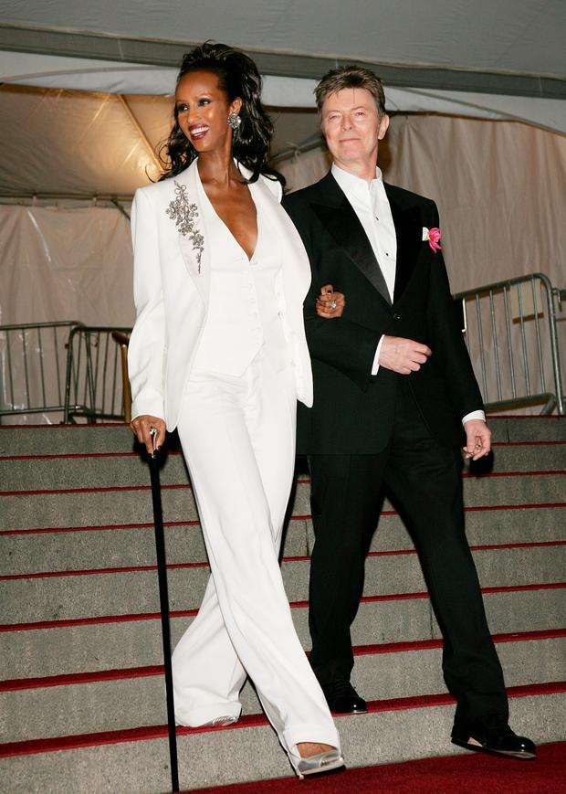 Iman and David Bowie leave The Metropolitan Museum of Art's Costume Institute Gala May 07, 2007 in New York City. (Photo by Evan Agostini/Getty Images)