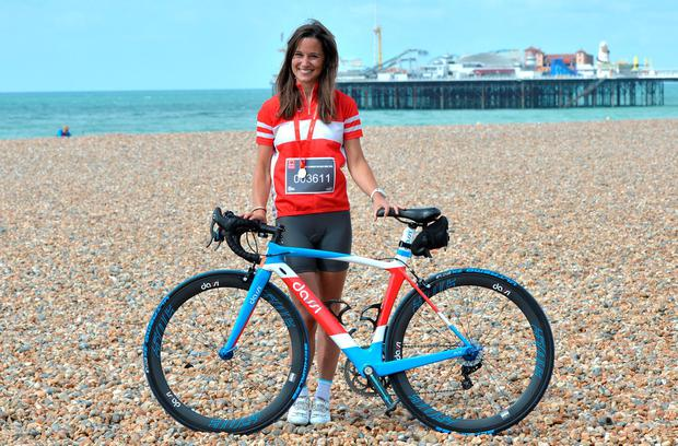 BRIGHTON, ENGLAND - JUNE 21: Pippa Middleton Finishes the London To Brighton Bike Ride For British Heart Foundation on June 21, 2015 in Brighton, England. (Photo by Anthony Harvey/Getty Images)