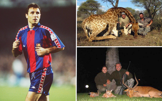 Hristo Stoichkov has been slammed for posing with dead animals in Africa