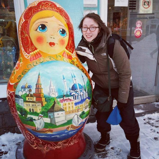 Aoife Breen pictured with a giant matryoshka in the streets of Kazan, Russia Phot Credit: Aoife Breen