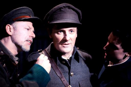 Don Wycherley, Ronan Leahy, Gavin Fullam in Inside The GPO, a superb play which brings the idiocy and heroism of the Rising to life Photo: Dan O'Neill