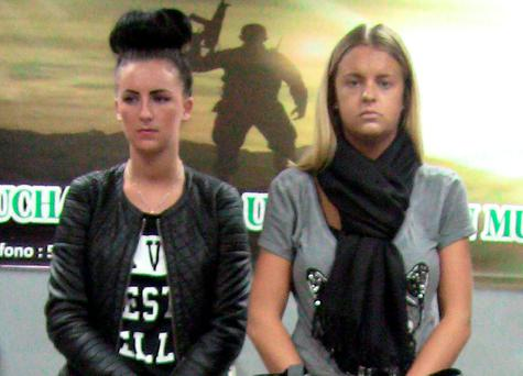 Michaella McCollum with Melissa Reid from Scotland. Photo: AP Photo/Peru's National Police