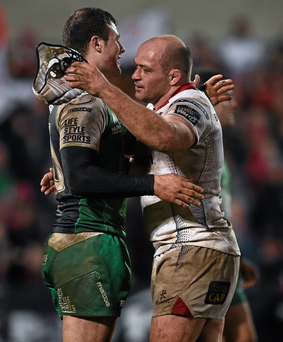 Robbie Henshaw and Rory Best congratulate each other after Ulster's victory against Connacht at Ravenhill (SPORTSFILE)