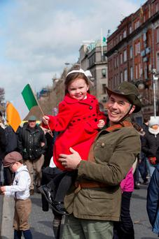 Easter Monday events in Dublin had a joyful family atmosphere. Photo: Mark Condren