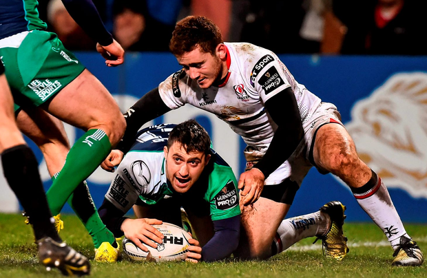 Caolin Blade celebrates after touching down for Connacht. Photo: Ramsey Cardy/Sportsfile