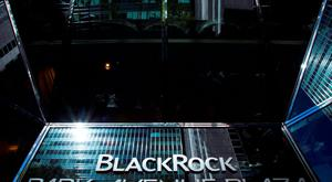 The BlackRock sign is pictured in the Manhattan borough of New York. Photo: Reuters/Eduardo Munoz/Files