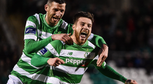 Brandon Miele (right) celebrates with Gavin Brennan after scoring Shamrock Rovers' first goal against Galway United at Tallaght Stadium (SPORTSFILE)
