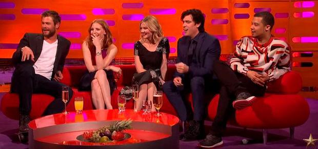 Graham Norton's guests Chris Hemsworth, Jessica Chastain, Kirsten Dunst, Stephen Mangan and Raleigh Ritchie, react to a Red Chair story