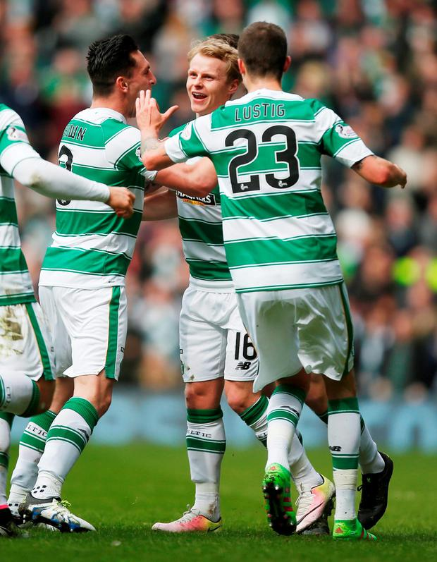 Celtic's Gary Mackay-Steven (centre) celebrates scoring his sides first goal