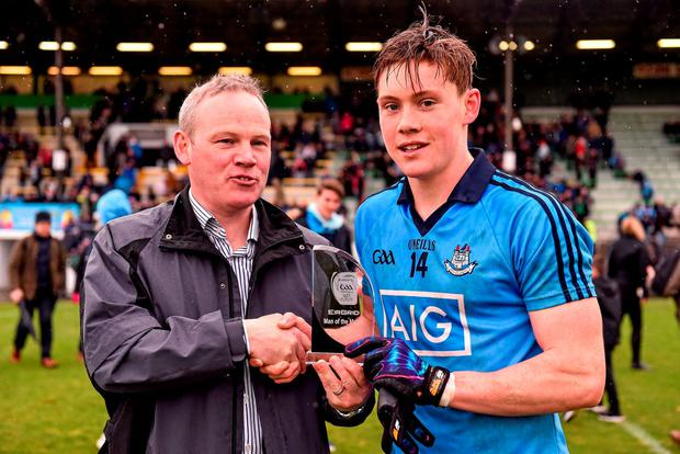 Dublin's Con O'Callaghan is presented with the EirGrid Man of the Match award by John Fitzgerald from EirGrid