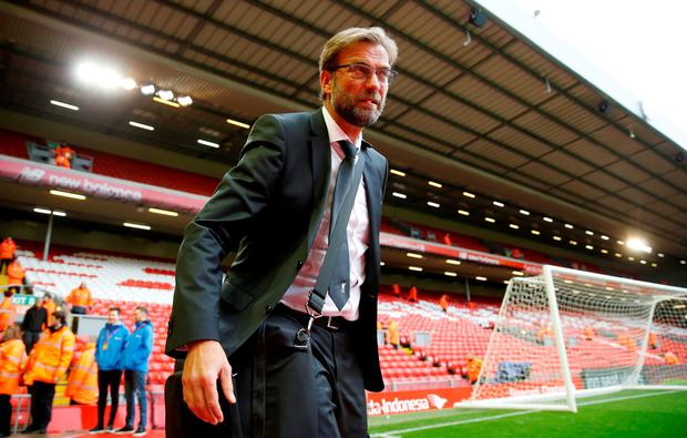 Liverpool manager Juergen Klopp arrives before the match