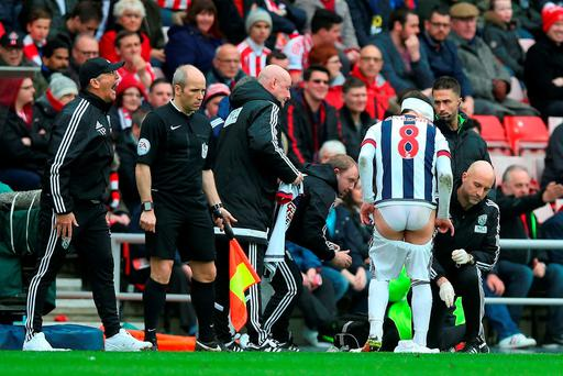 Craig Gardner of West Bromwich Albion receives medical treatment during the Barclays Premier League match between Sunderland and West Bromwich Albion