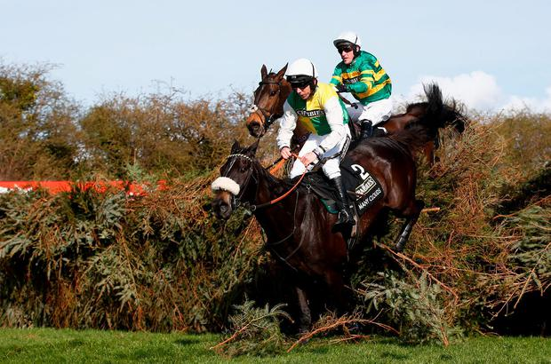 Many Clouds and Leighton Aspell on their way to victory at Aintree last year Photo: Clive Rose/Getty Images