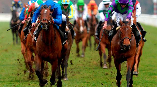 Secret Brief (left) ridden by William Buick beats Bravo Zolo to win the Betway Lincoln at Doncaster Photo: Anna Gowthorpe/PA Wire
