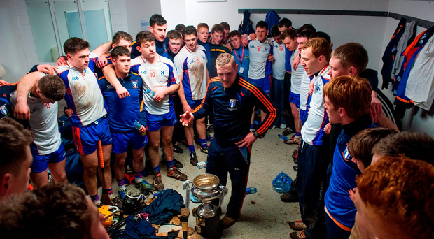 Shane Nolan addresses his victorious Mary Immaculate players, including players from Tipperary and Clare, after this year's independent.ie Fitzgibbon Cup final. Colleges hurling has helped to reduce the element of tribalism between counties. Photo: Eoin Noonan / Sportsfile