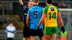 'Every tackle in the game between Dublin and Donegal seemed to risk a yellow card and the after-match discussion focused on Michael Murphy and James McCarthy' Photo: Dáire Brennan / SPORTSFILE