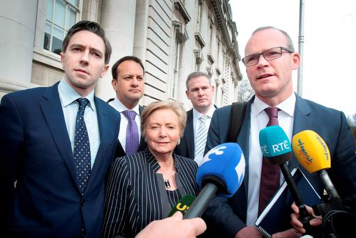 TALKS: Fine Gael's Simon Harris, Leo Varadkar, Frances Fitzgerald, Sean Kyne and Simon Coveney arrive for discussion with Independents and Greens. Photo: Tom Burke