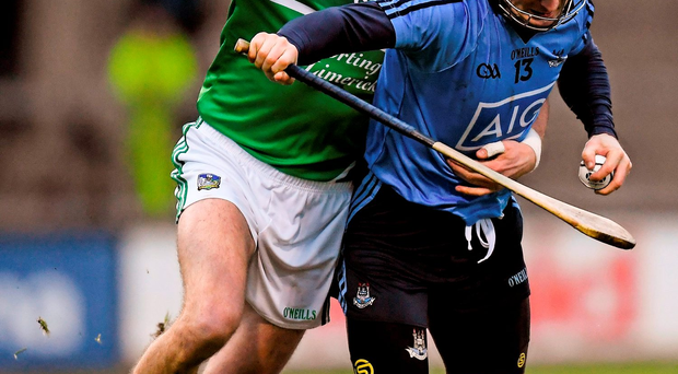 Dublin's David O'Callaghan under pressure from Gavin O'Mahony. Photo: Ray McManus / Sportsfile