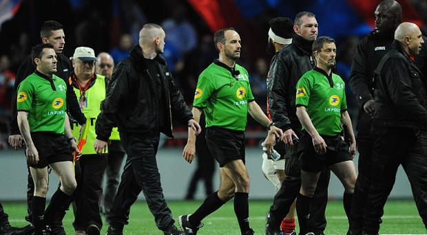 Romain Poite, referee during the French Top 14 rugby union match between Oyonnax v Grenoble at Stade Charles Mathon on April 2, 2016 in Oyonnax, France. (Photo by Jean Paul Thomas / Icon Sport) (Photo by Jean Paul Thomas/Icon Sport via Getty Images)