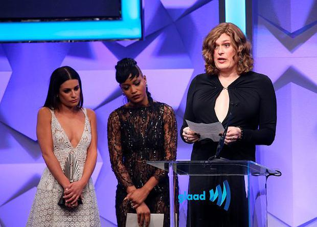 BEVERLY HILLS, CALIFORNIA - APRIL 02: Lilly Wachowski speaks onstage with Keke Palmer and Lea Michele during the 27th Annual GLAAD Media Awards held at The Beverly Hilton Hotel on April 2, 2016 in Beverly Hills, California. (Photo by Michael Tran/FilmMagic)