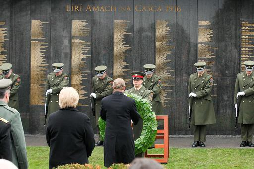 Taoiseach Enda Kenny pictured as Remembrance Wall sowing the names of all those who died during the Easter Rising has been unveiled at Glasnevin Cemetery Dublin this moring. Photo: Stephen Collins/Collins Photos