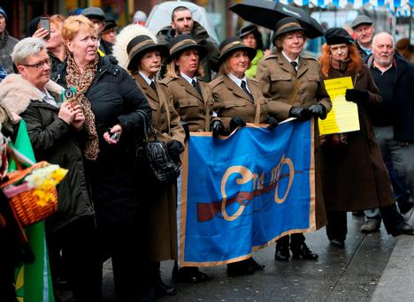 Members of the Raging Hormones local community drama group at the Save Moore Street 2016 campaign during the 'Arms Around Moore Street' demonstration. Photo: Niall Carson/PA Wire