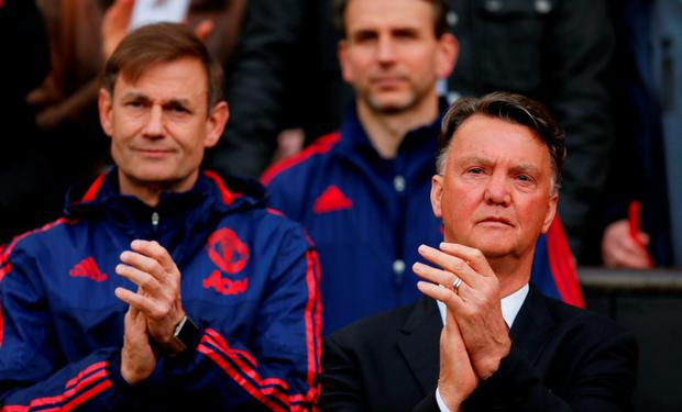 Manchester United manager Louis van Gaal applauds