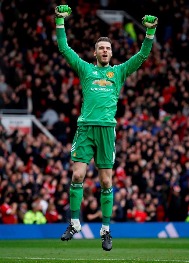 Manchester United's David De Gea celebrates after Anthony Martial (not pictured) scores their first goal