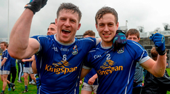 Cavan team-mates Tomas Corr, left, and Padraig Faulkner celebrate after the match. Photo: Sportsfile