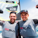 Ryan Seaton and Matt McGovern celebrate their victory at the Princess Sofia Olympic classes regatta Photo: David Branigan/Oceansport