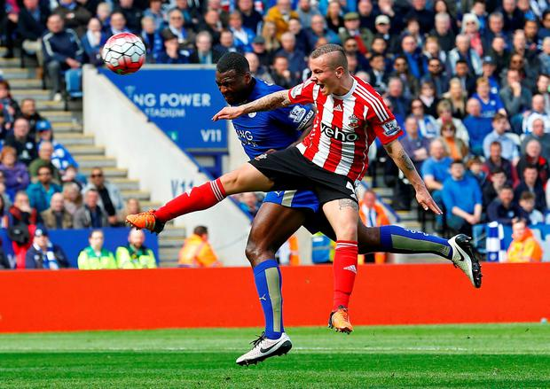 Leicester captain Wes Morgan outjumps Southampton's Jordy Clasie to score his side's winner at the King Power Stadium. Photo: Reuters