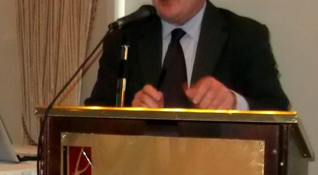 Ken Smollen addresses the audience at the meeting in Portlaoise.